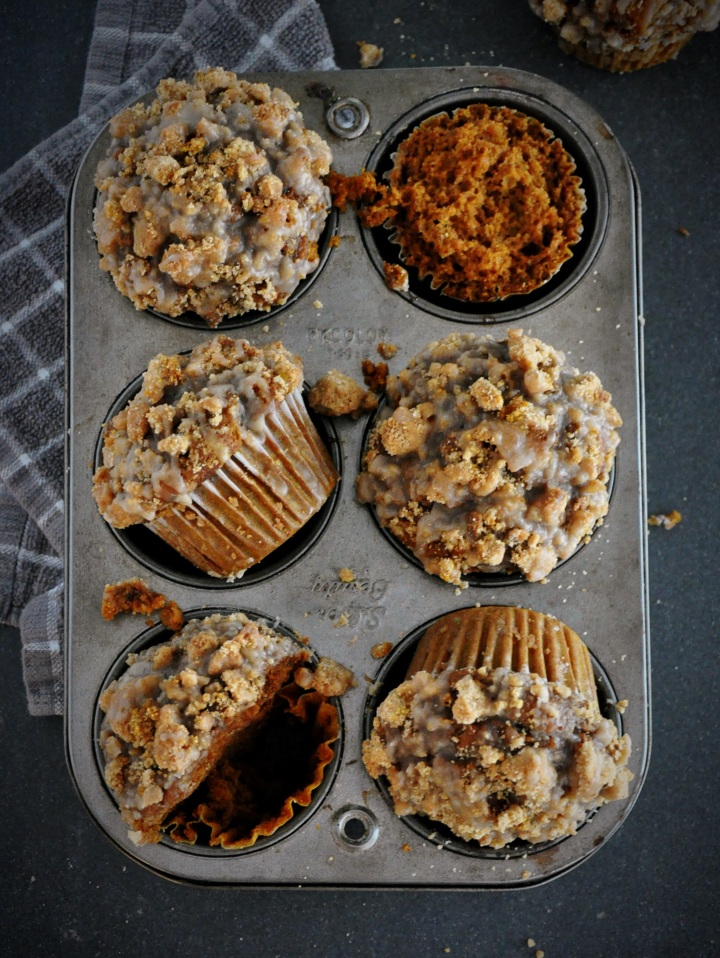 Pumpkin Crumb Muffins with Brown Butter Maple Glaze