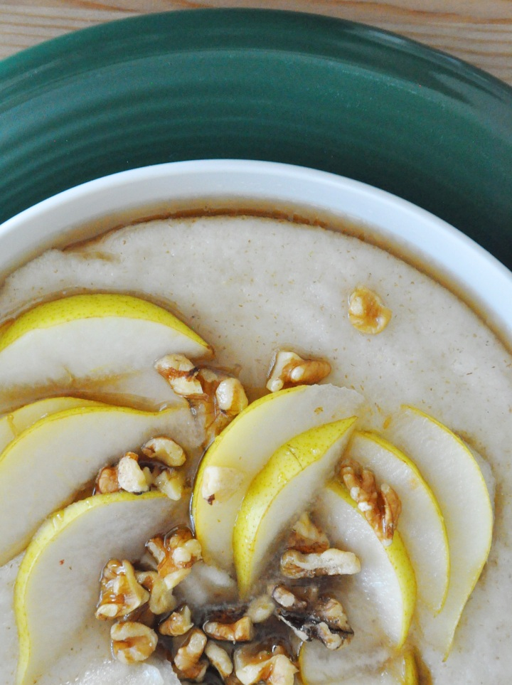 Maple Porridge with Fresh Bartlett Pears and Walnuts