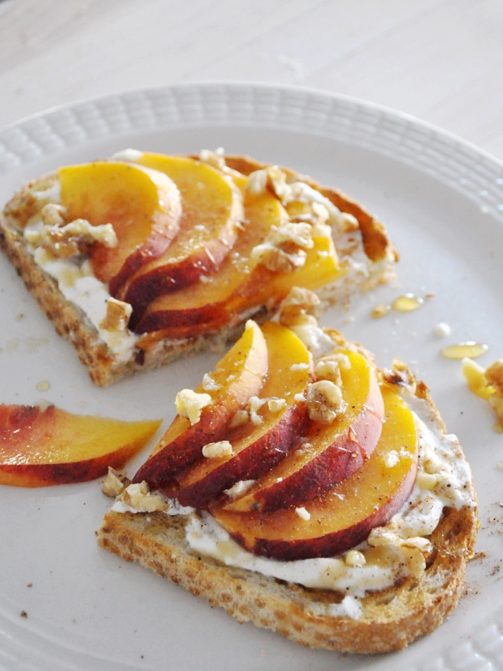 Sourdough Toast with Peaches and Honey