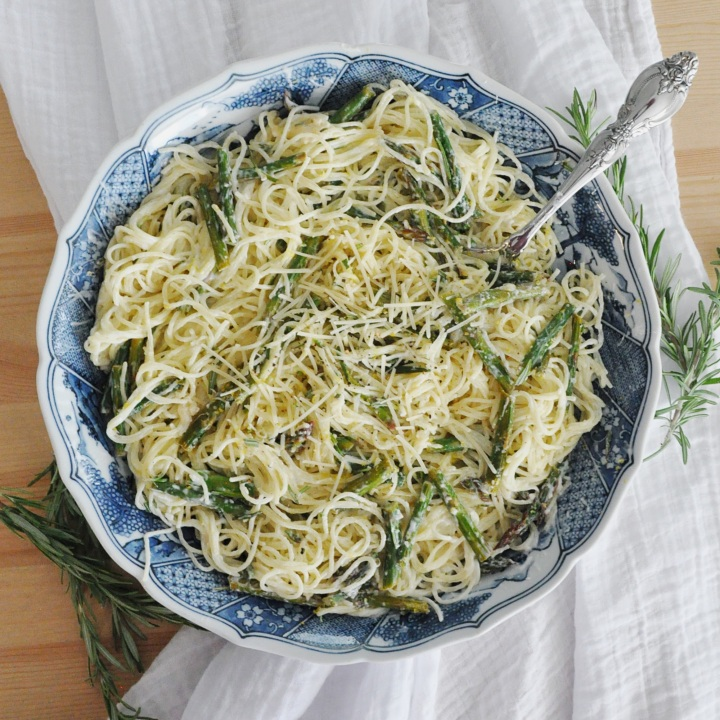 Lemon Rosemary Pasta with Roasted Asparagus