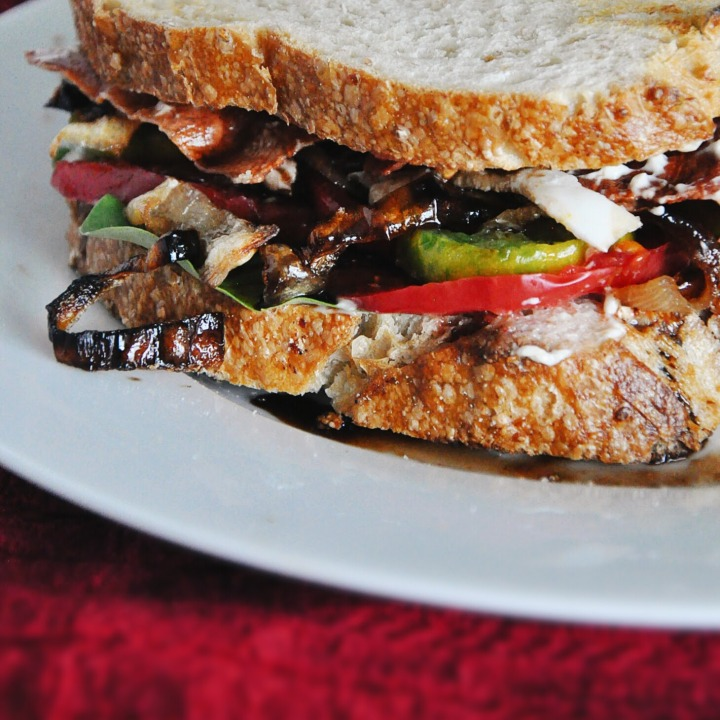 Caprese Sandwiches with Crispy Prosciutto and Caramelized Onions